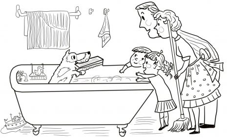Harry the dirty dog in the bathroom coloring for Harry the dirty dog coloring page