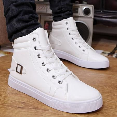 Buckle Strap High Top Tie Up Casual Shoes
