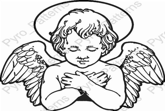 Pyrography Wood burning Angel Pattern Printable Stencil Instant