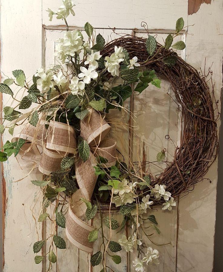 Front Door Wreath, Summer Wreath, Spring Wreath, Burlap Wreath, Door Wreath,  Vintage Wreath, Wedding Wreath, Farmhouse Wedding
