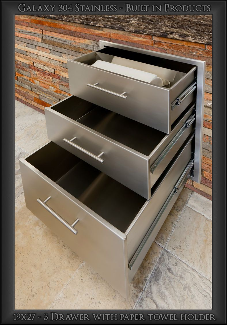 19x27 3 Drawer With Paper Towel Holder Galaxy 304 Stainless Outdoor Kitchen Design Outdoor Kitchen Paper Towel Holder