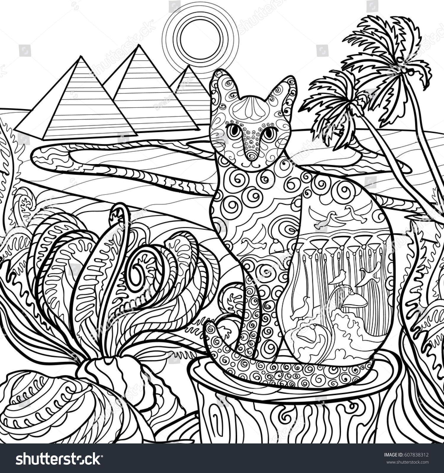 Outline Cat Coloring Page Design In Egypt Style Vintage Hand