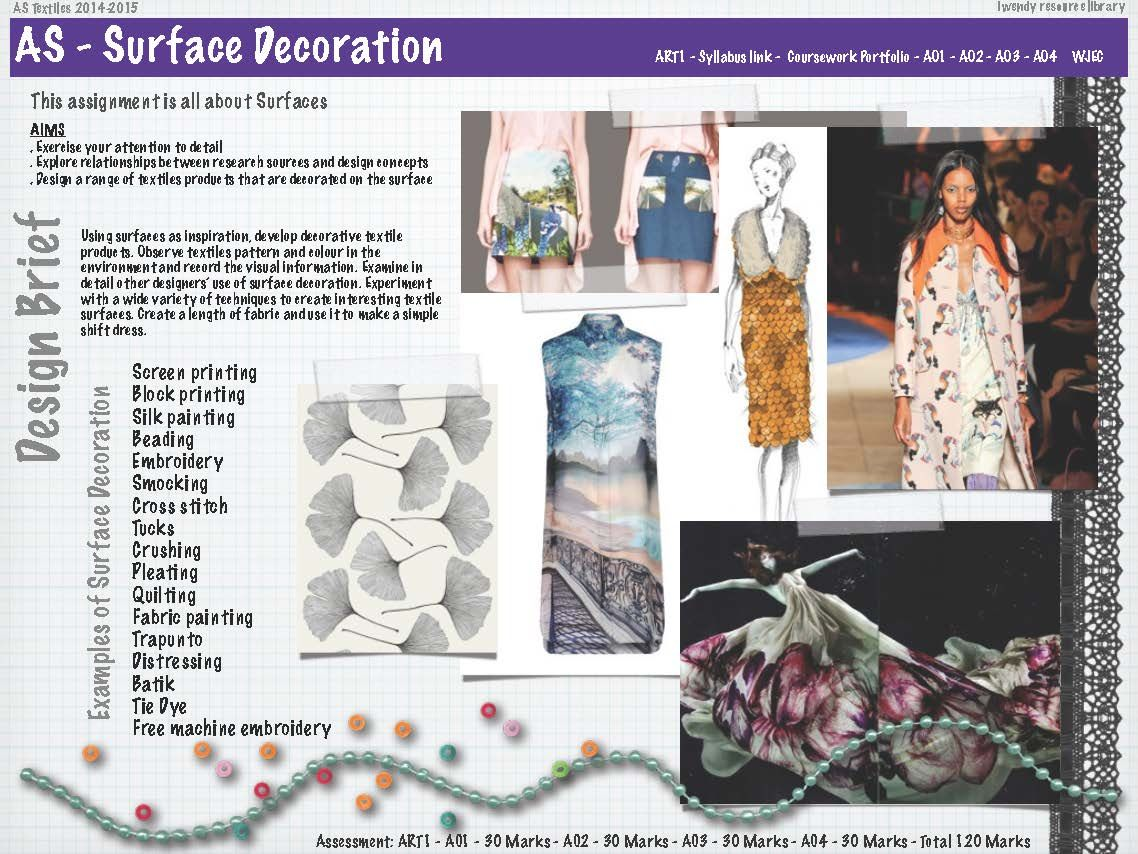 Design Brief For The New As Textiles Course Following The