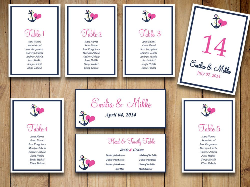 Beach Wedding Seating Chart Template Download - Nautical Wedding - number chart template