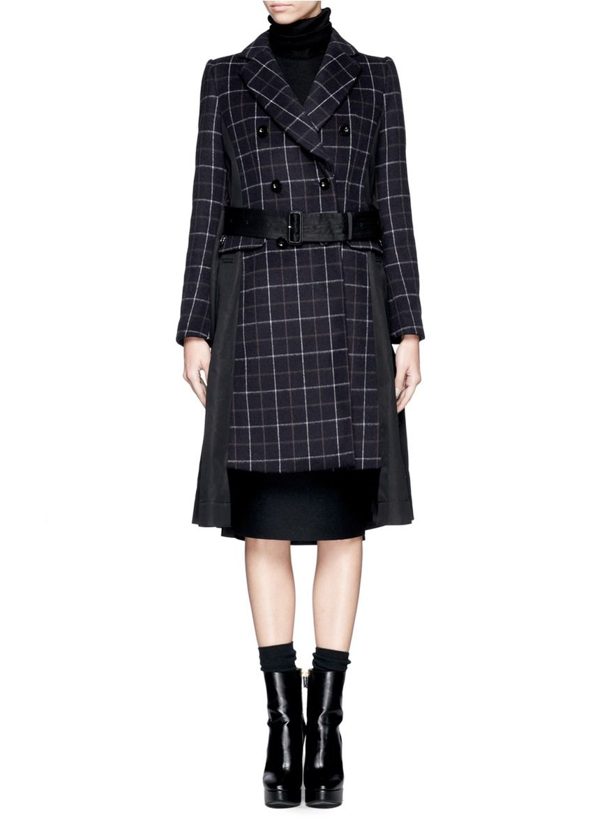 96238760455a SACAI - Double-breasted plaid coat - on SALE