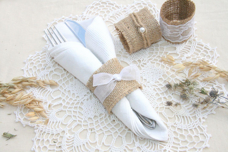 Burlap Wedding Napkin Rings Rustic Wedding Decor Rustic Wedding