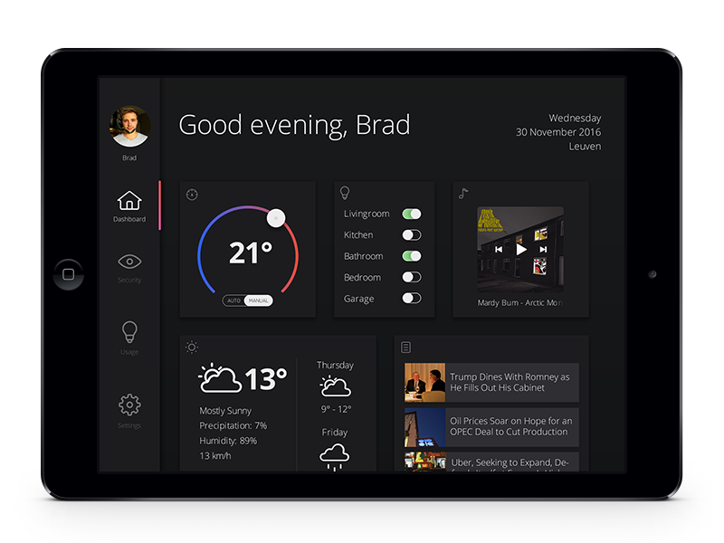 HOME MONITORING DASHBOARD | UI | Dashboard design, App ui