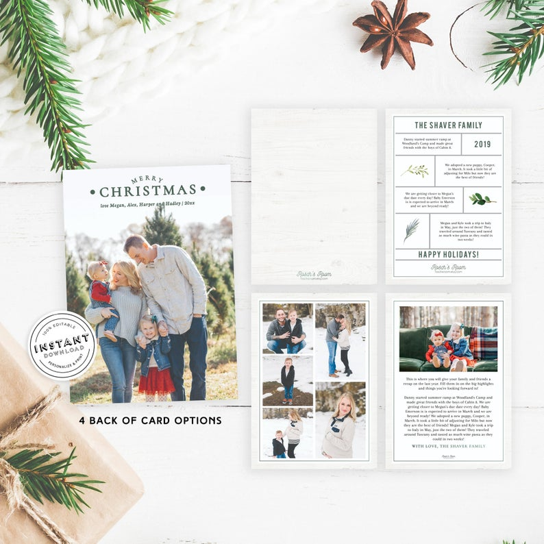 Class Christmas Card With Family Photos And Year Recap Etsy Printable Holiday Card Holiday Card Template Cheap Holiday Cards