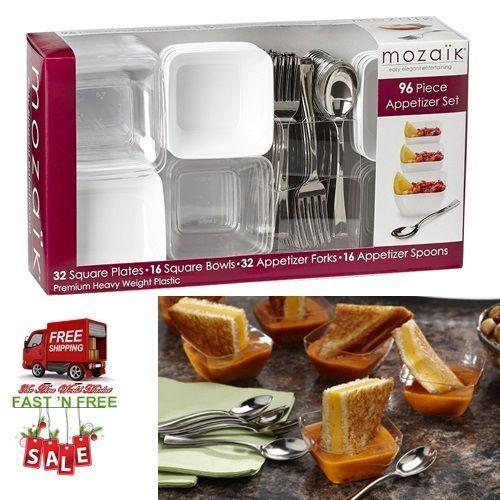96Pcs Mini Appetizer Set Bowl Cup Sauce Spoons Forks Plates Party Supply Plastic #Mozaik & 96Pcs Mini Appetizer Set Bowl Cup Sauce Spoons Forks Plates Party ...
