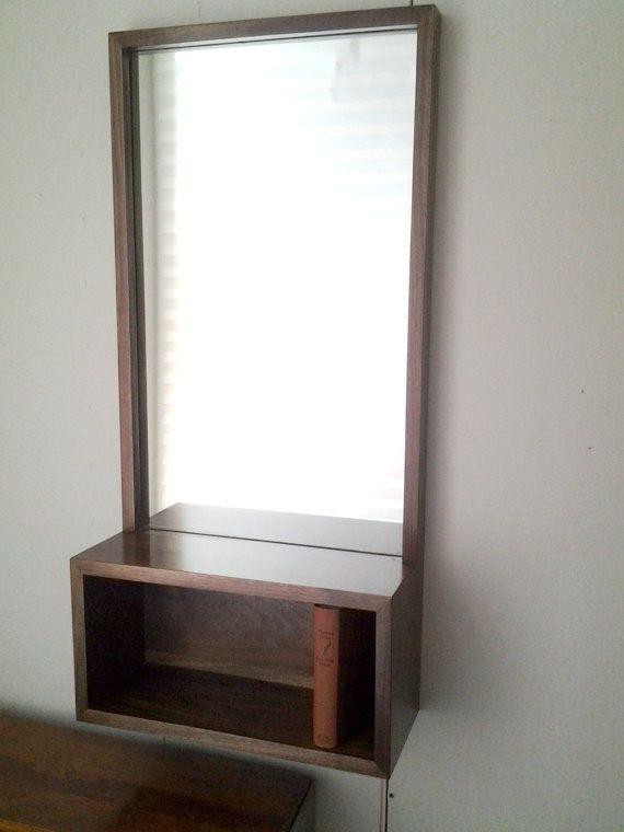 Custom Walnut Entry Hall Mirror with wall shelf by MadeByGideon
