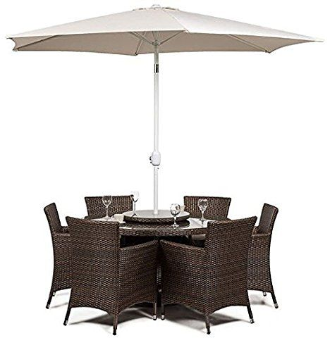 Savannah Rattan Round Glass Dining Table And 6 Seat Chair Set + Cushions +  Umbrella /