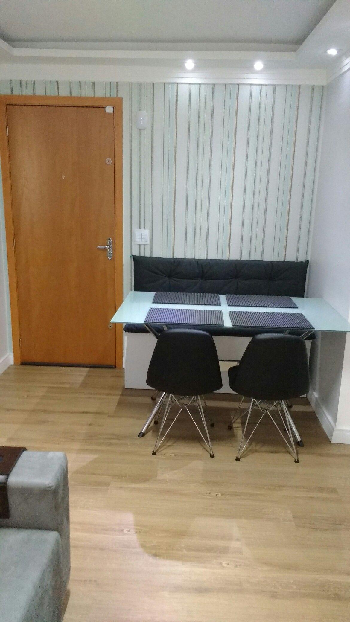 Sala De Jantar Canto Alem O Papel De Parede Mesa De Vidro Sanca  -> Papel De Parede Para Sala Londrina