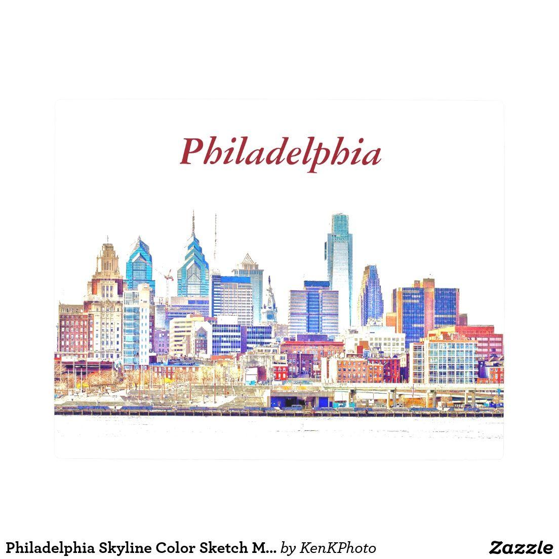 Philadelphia Skyline Color Sketch Metal Wall Art Zazzle Com Philadelphia Skyline Personalised Postcards Postcard