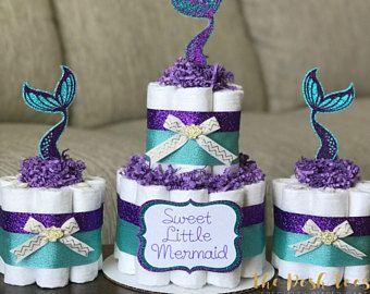 Attractive Mermaid Diaper Cake, Baby Shower Decor Centerpiece Present, Purple Teal  Gold Under The Sea Little Mermaid Seashell Girl, ONE Mini 1 Tier