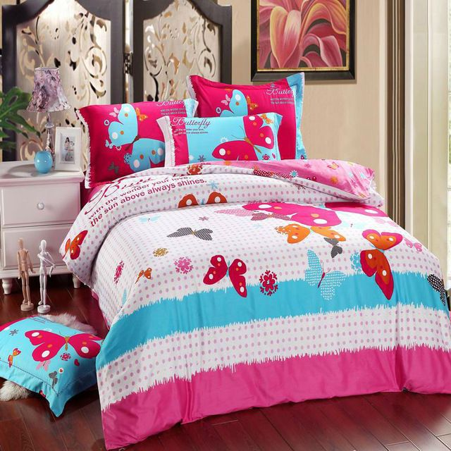 Butterfly Reactive Dyeing 4pcs Bedding Sets,pure Cotton Bedding Products  With Quilt Cover,bed