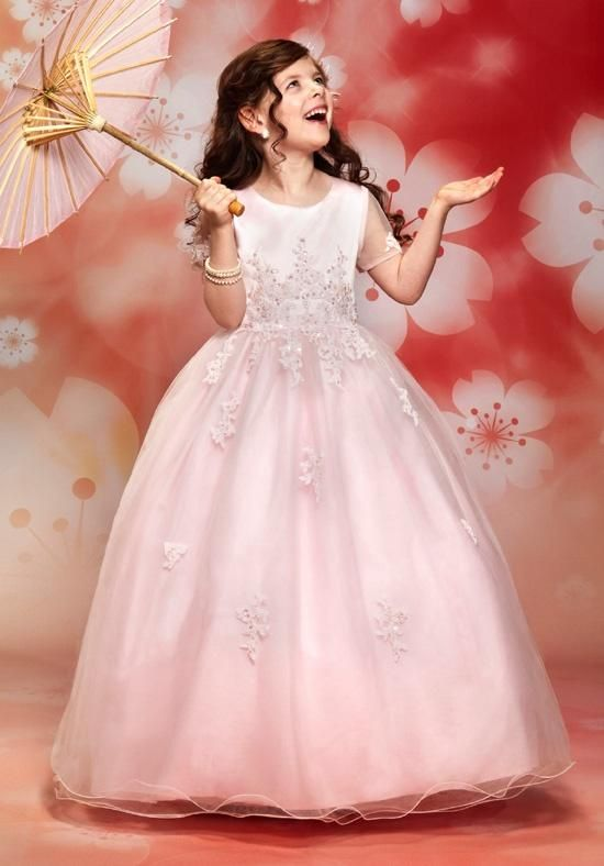 502d5a225 Pink Flower Girl Dress with Sheer Sleeves and Back Zipper | Cupids by  Mary's | https