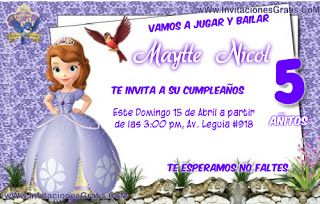 Invitaciones De La Princesa Sofia Gratis Para Imprimir