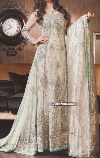 Off-white Crinkle Chiffon Suit | Buy Pakistani Designer Fashion Dress