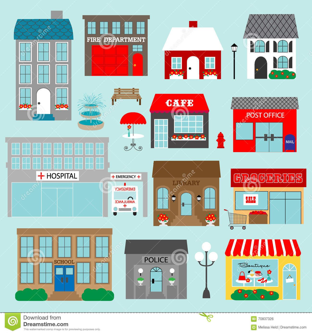 Town Buildings Clipart Stock Illustration Illustration Of Light 70837326 Town Building Building Illustration Clip Art
