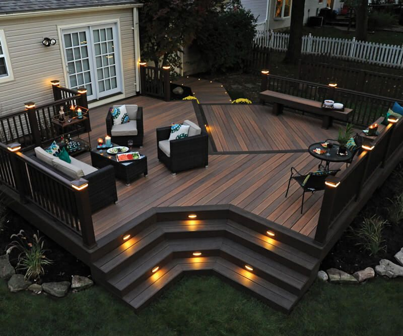 Composite decking railing fastening lighting timbertech