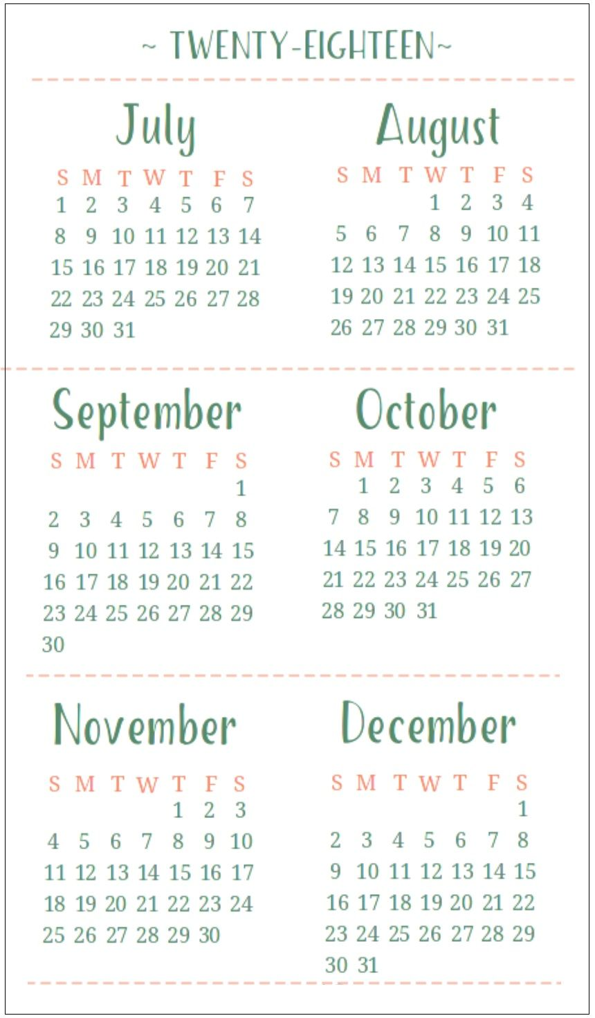 july august september october november december 2018 calendar 6 months one page templates