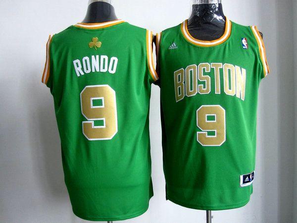 c76b0b116 Adidas NBA Boston Celtics 9 Rajon Rondo Swingman Road Green Golden Number  Jersey