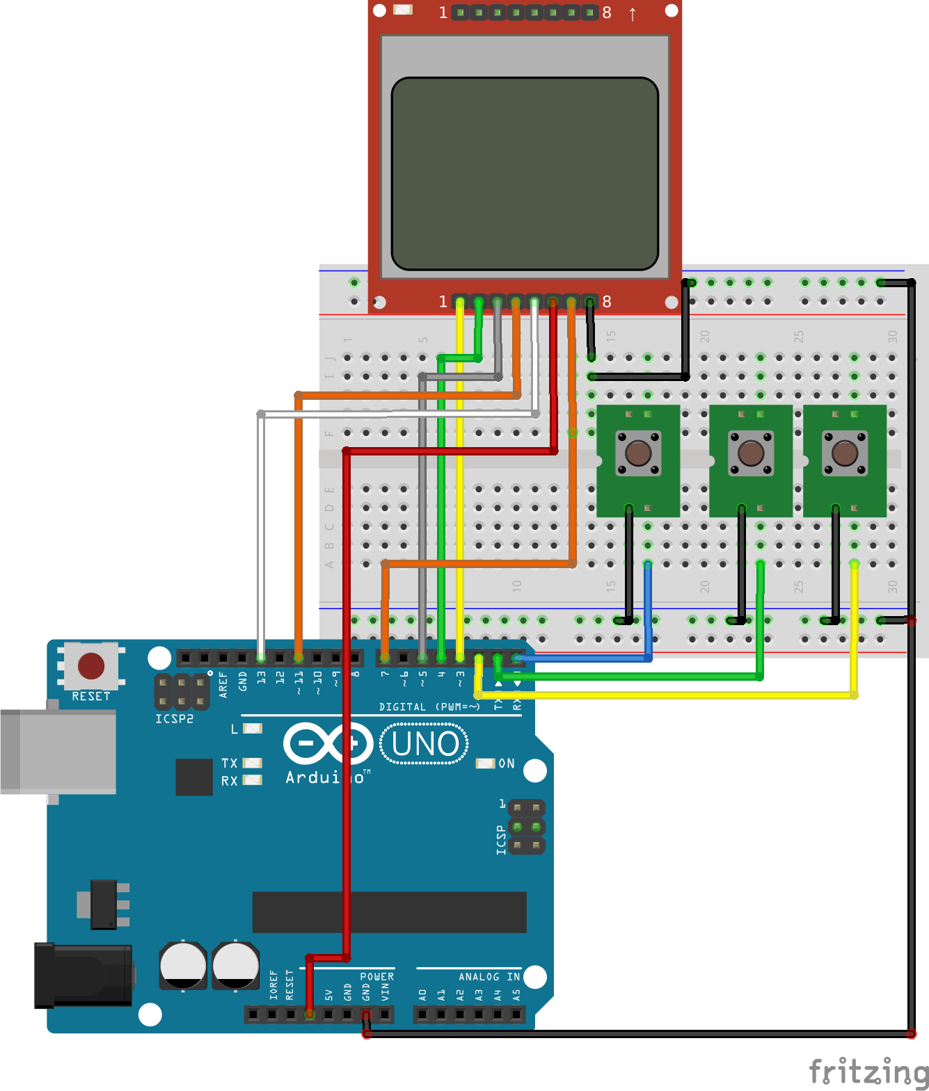 Menu On Nokia 5110 Lcd Display With Arduino Electronics Lab Arduino Arduino Projects Diy Electronics Projects Diy