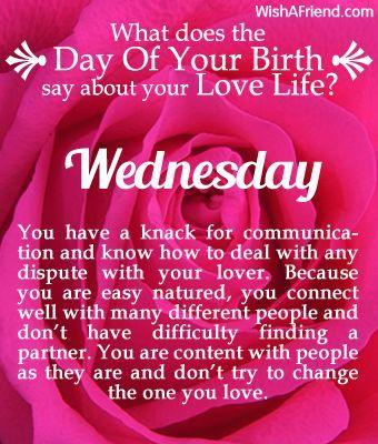 Day of Birth Love Life Born on Wednesday
