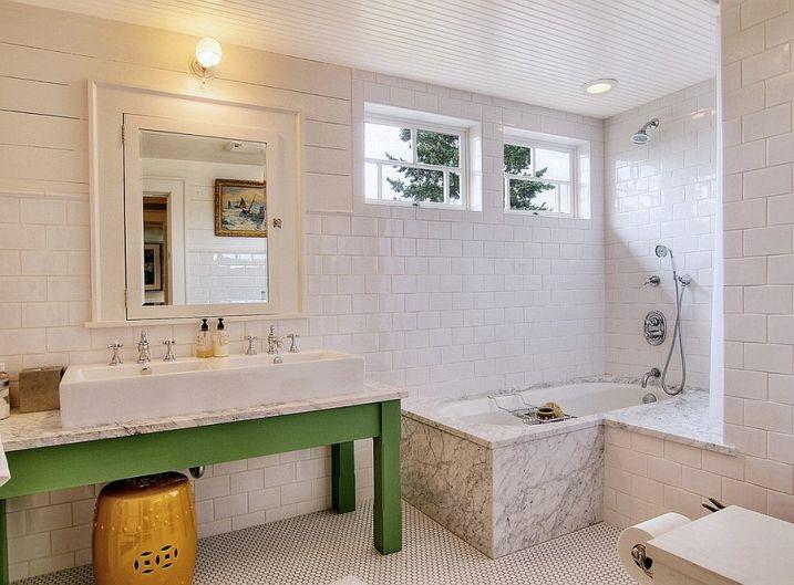 meuble-salle-bain-touche-vert SALLE DE BAIN Pinterest Decoration