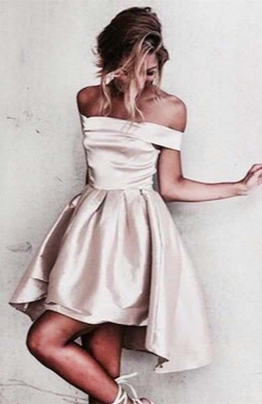 98c7f9719a1c A-Line Off-the-Shoulder High Low Light Champagne Satin Prom Homecoming Dress