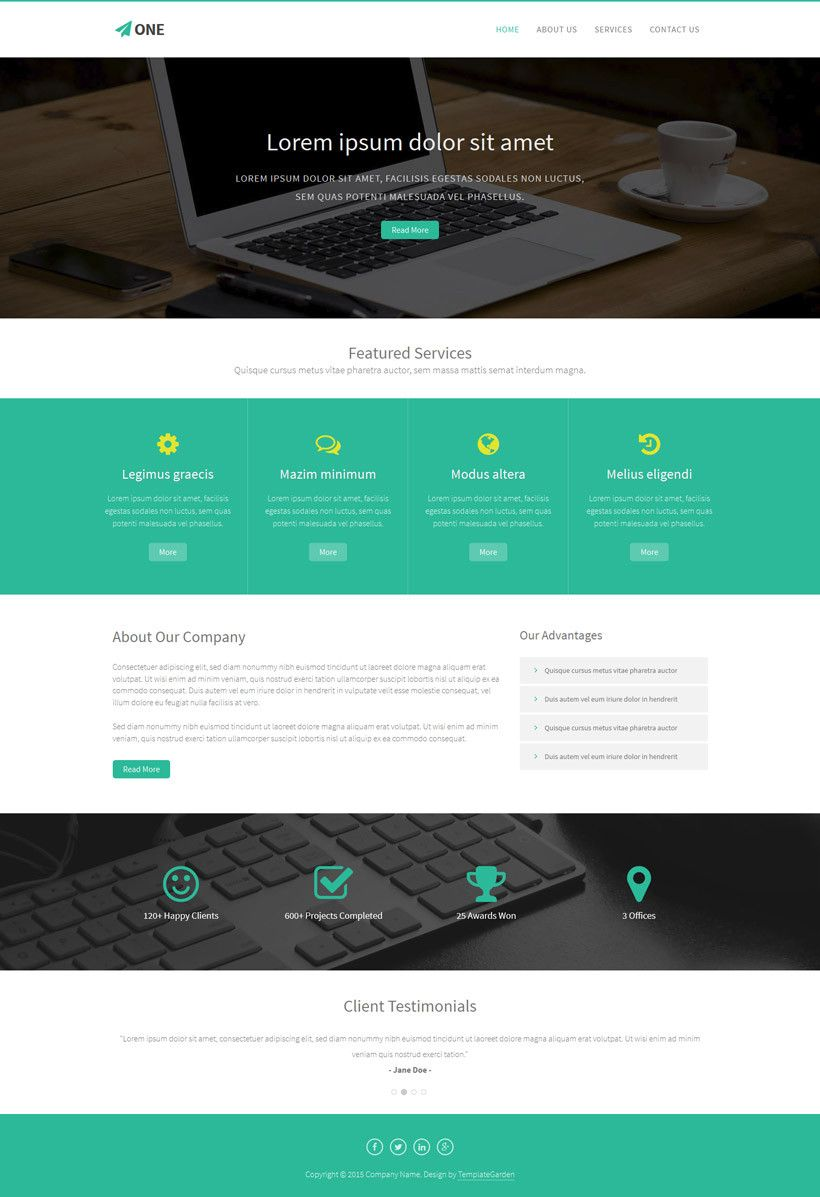 One - Free Bootstrap HTML5 Template - Freebies | Free stuff ...