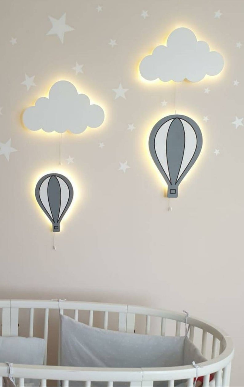 HOT AIR BALLOONS Wall Lights (Set of 2) / Nursery