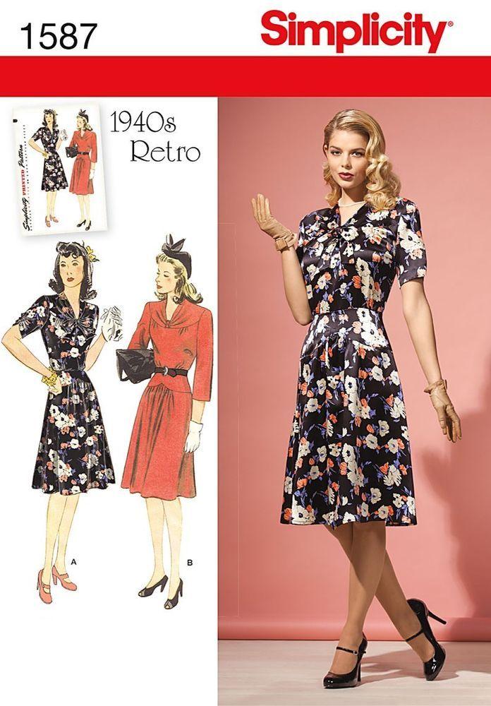 16b834c741d Simplicity Pattern 1587 Retro 1940 s WWII Dress Misses Petite or Plus size  6-22