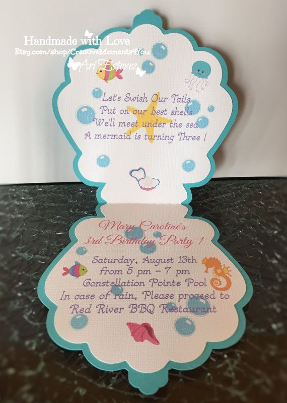 Mermaid Birthday Shell Invitation, Under the Sea themed Invitation #uniqueitemsproducts