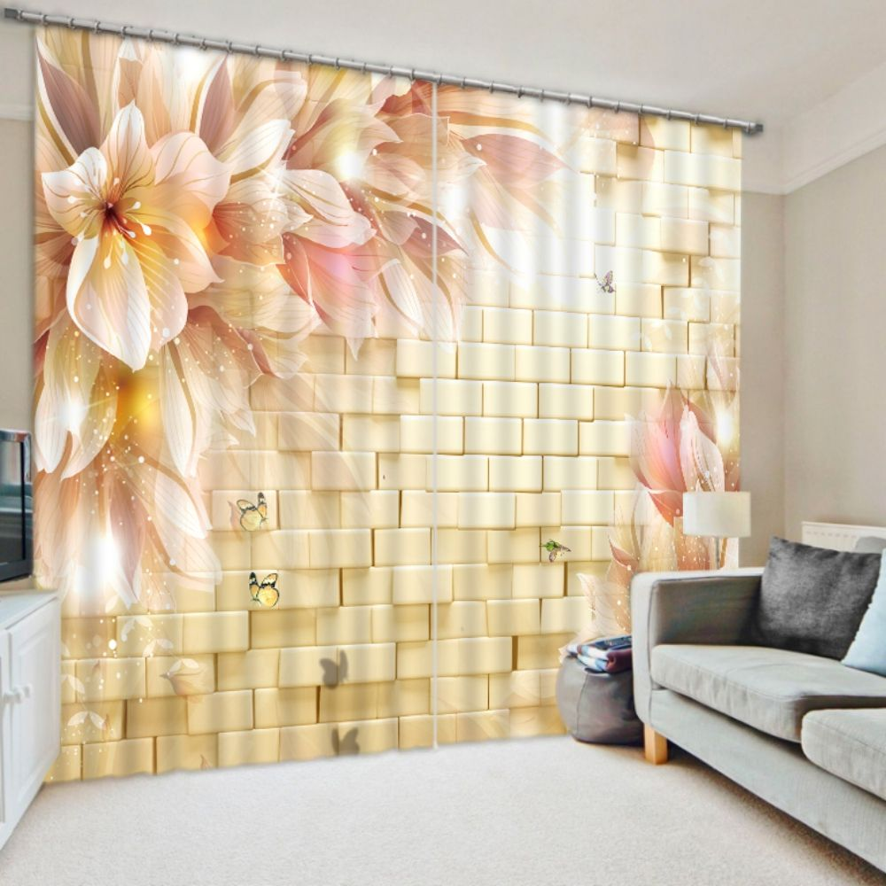 Window Treatments Home Textile Lotus Flower 3d Painting Blackout Curtains Office Bedding Room Living Room Sunshade Window Curtain Bedding Set Custom-made Size