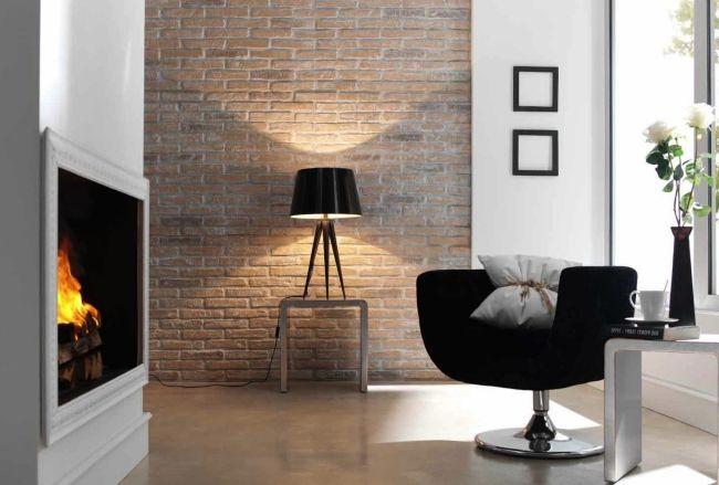 kamin sessel ideen für backstein wandgestaltung Backsteinwand