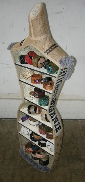 Very clever repurposing! Looks great! DIY mannequin transformed into a display shelf #repurposed #upcycled #furniture