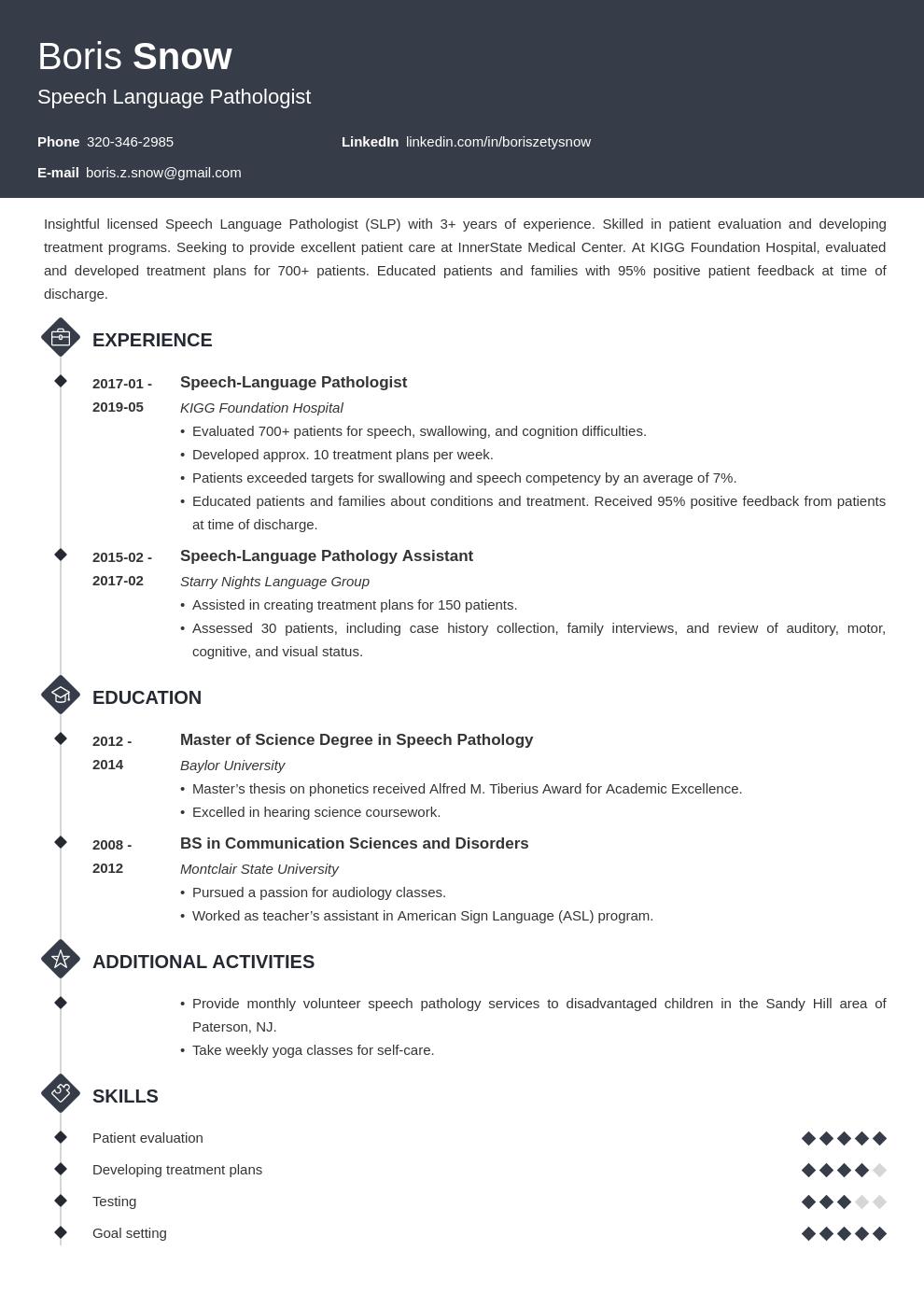 Speech Pathologist Resume Example Template Diamond Resume Examples Job Resume Examples Resume Template