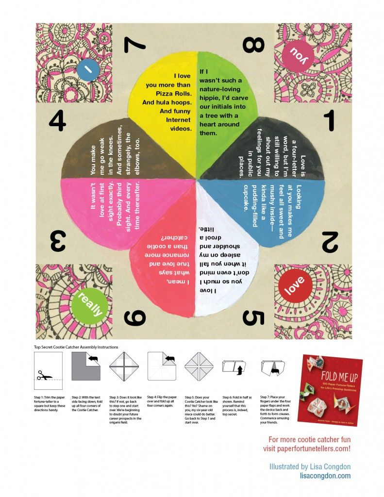 a free printable paper fortune teller illustrated by lisa congdon for him pinterest paper. Black Bedroom Furniture Sets. Home Design Ideas