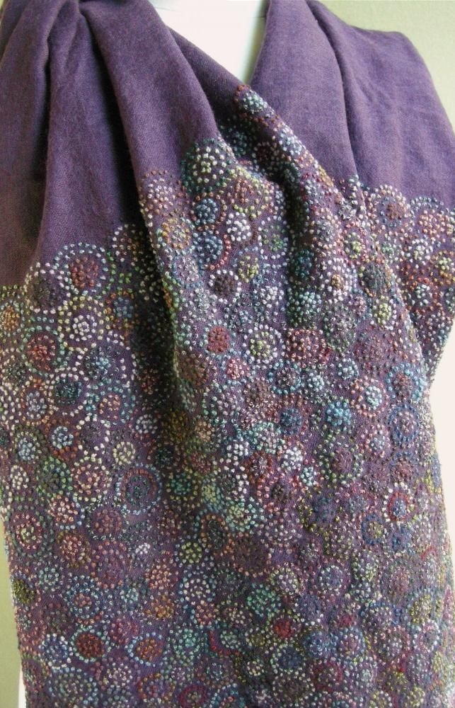 Scarf.  Lampions, Wool, hand embroidered  Sophie Digard- all french knots.    Wow, that's LOTS -O- DOTS!