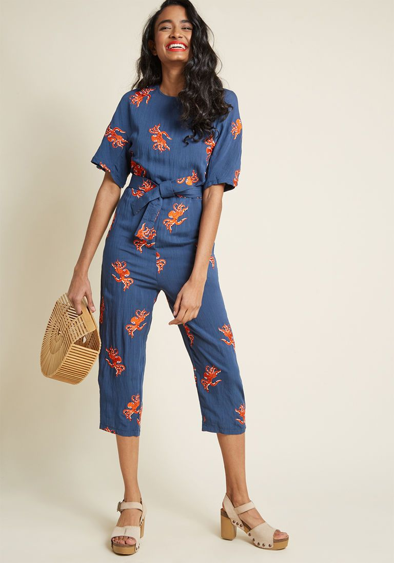 eb31b68fa6ab Pepaloves Octo-Posh Embroidered Jumpsuit in S - by Pepaloves from ModCloth