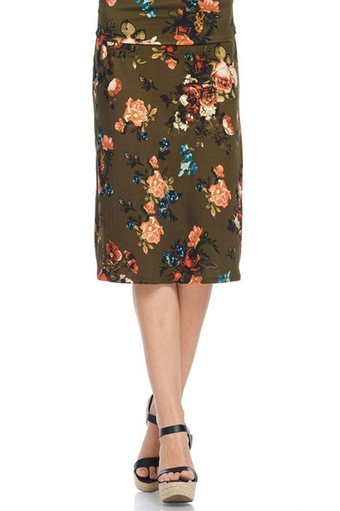 Cute olive floral knee length skirt! Super soft with an elastic waistband