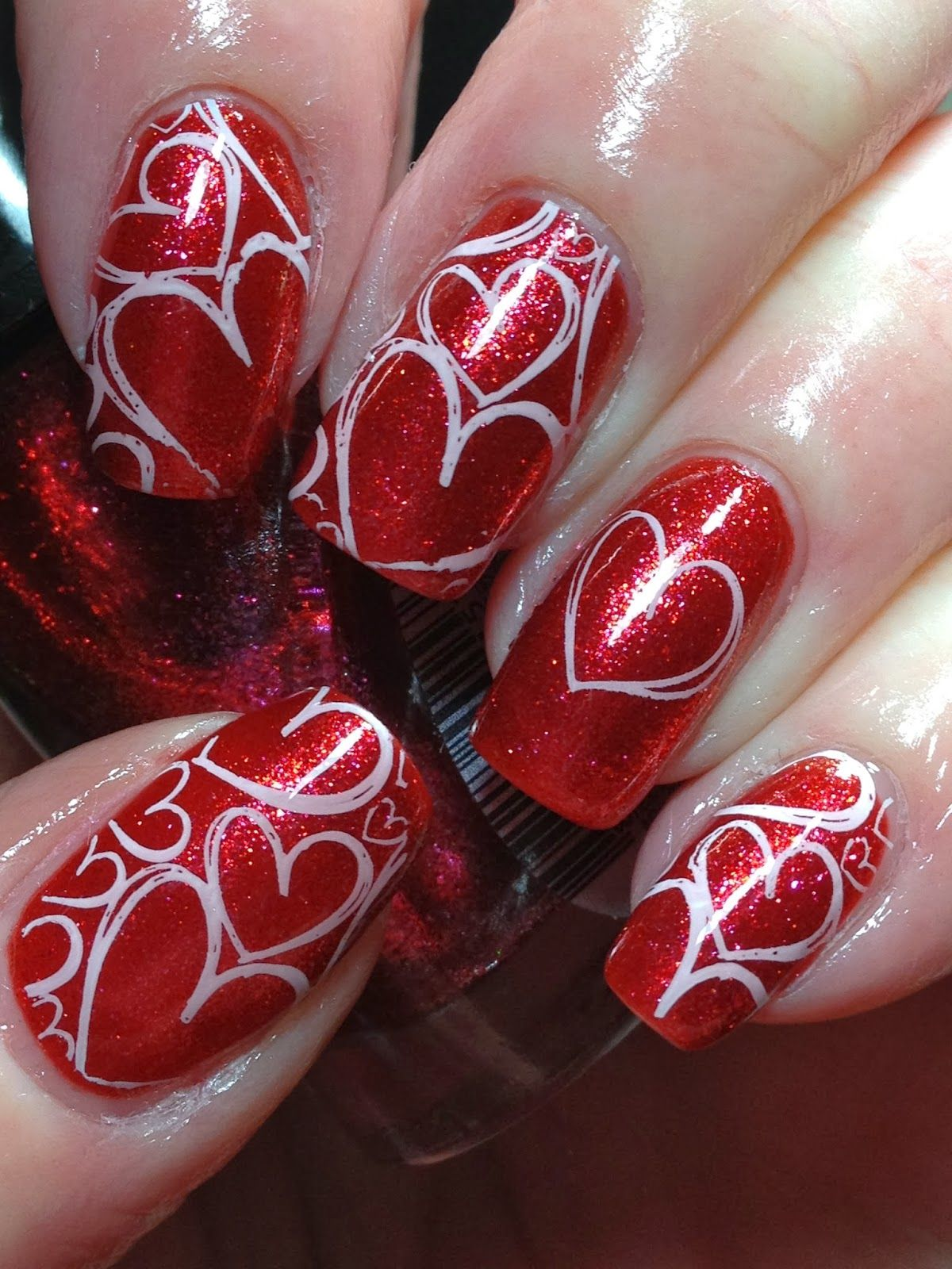 Quick Hearts for Valentines - Canadian Nail Fanatic - Gorgeous Metallic Nail Art Designs That Will Shimmer And Shine You