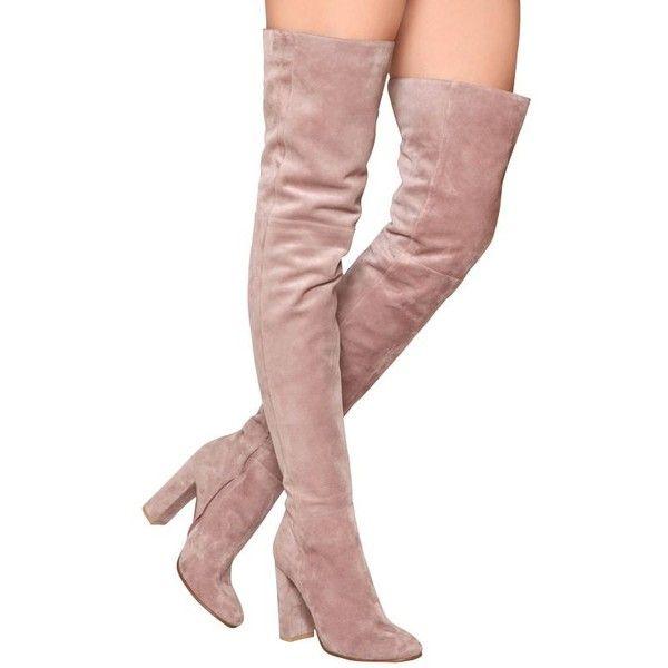light pink knee high boots