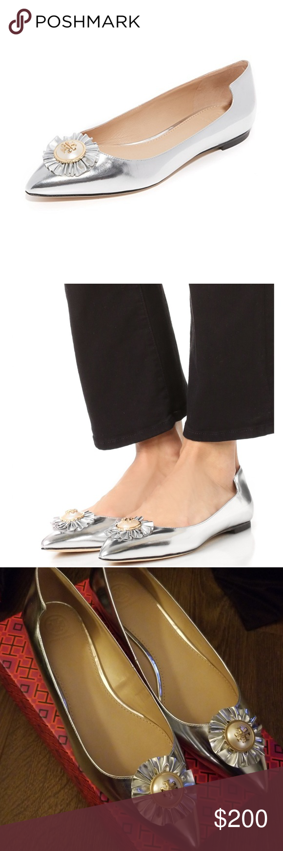 b67a26472e2 NWB Tory Burch Melody Pointy Toe Flats Size 10.5 New with box and never  been used