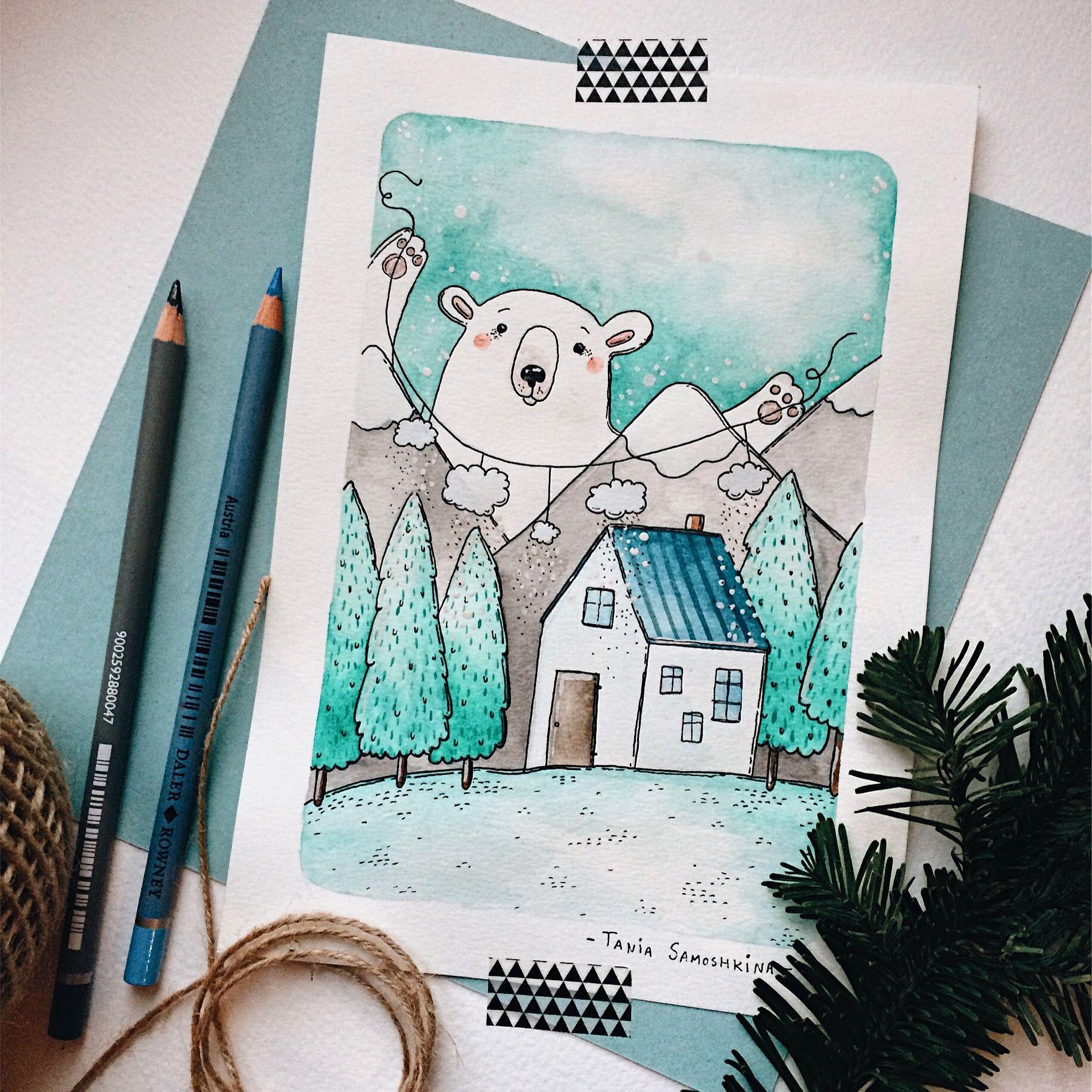 красивые зимние рисунки для скетчбука рыси
