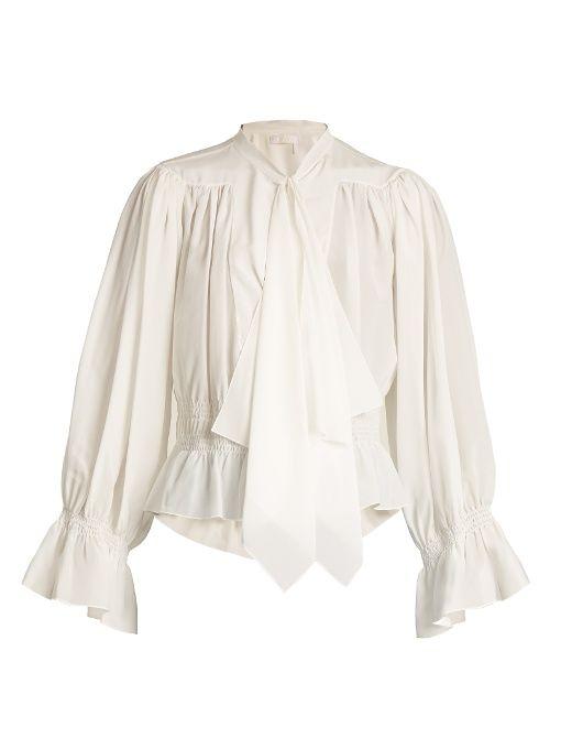 91c9bb980217e0 Chloé Tie-neck gathered silk crepe de Chine blouse