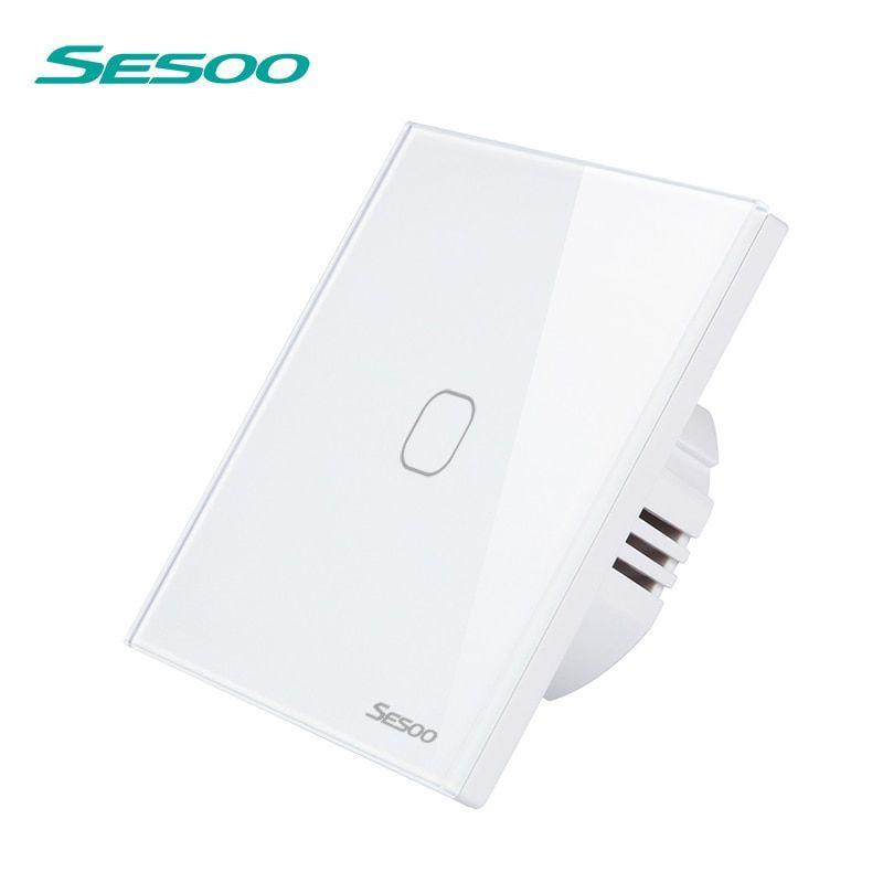 Aliexpress Com Buy Sesoo Wireless Remote Control Touch Switch For Rf433 Smart Wall Light Switch Tempered Gl Remote Control Light Wireless Lights Light Switch