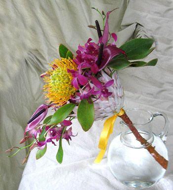 Alii Hawaiian Wedding Bridal Bouquet Side View Purple