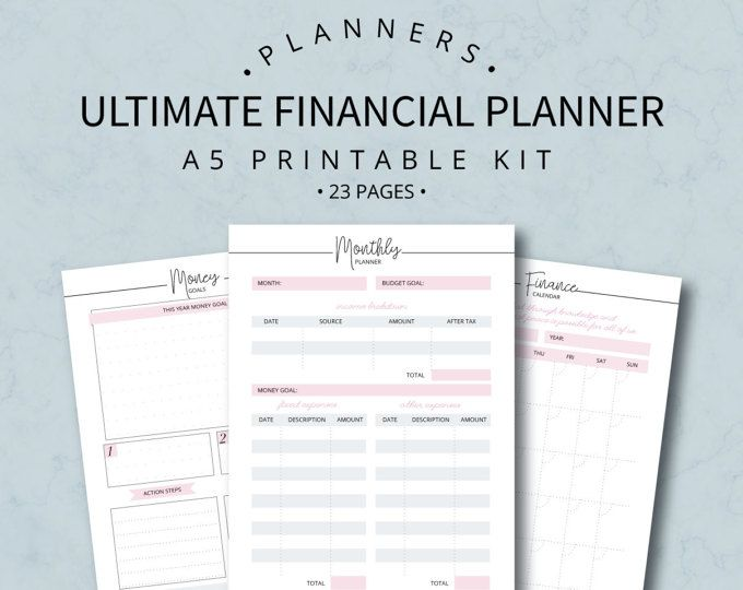 A5 Finance And Budget Printable Organizer Planner Inserts Bill Dave Ramsey Binder Expense Tracker